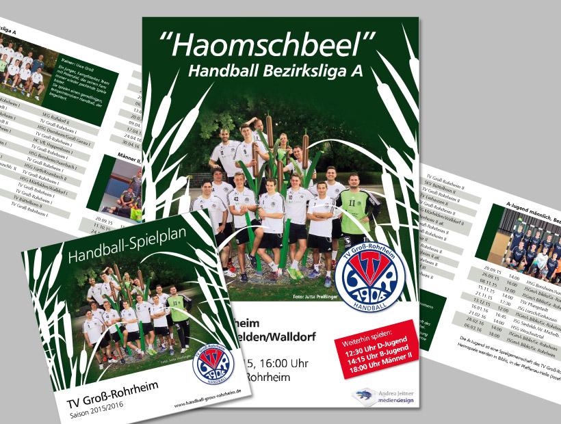 Plakat und faltbarer Spielplan zur Handballsaison 2015/2016 des TV Groß-Rohrheim