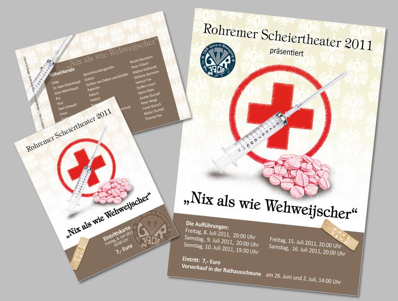 Plakat und Eintrittskarten der Laienspielgruppe des TV Groß-Rohrheim 1906 e.V.
