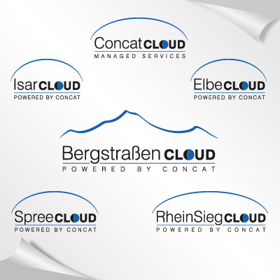 Logo-Set für diverse regionale Cloud-Marken des Systemhauses Concat AG